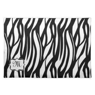 Funky Black / White Monogram Zebra Fabric Placemat