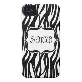 Funky Black White Zebra Monogram Case-Mate iPhone 4 Case