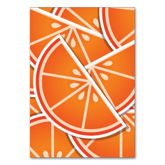 Funky blood orange wedges table card