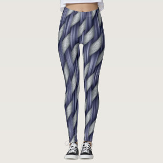 Funky Blue and Silver Chunky Woven Look Leggings
