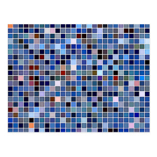 Funky Blue 'Bathroom Tiles' Pattern Postcard
