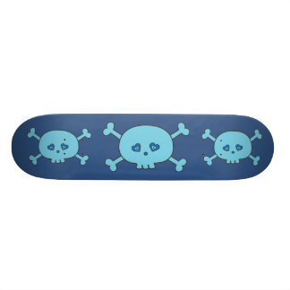 Funky Blue Cartoon Skulls Skateboard Deck