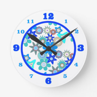 Funky Blue Flower Pattern Round Clock