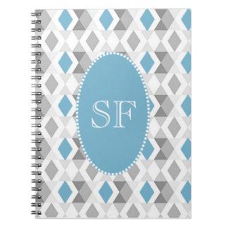 Funky Blue/Gray Diamond Monogram Notebooks