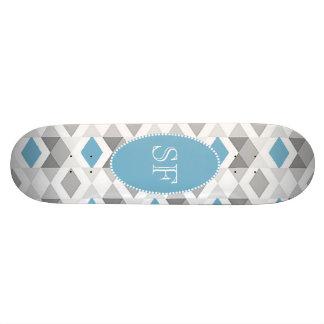 Funky Blue Gray Diamond Monogram Skateboard