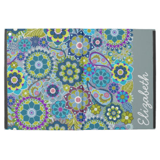 Funky Blue Green Floral Pattern with Name