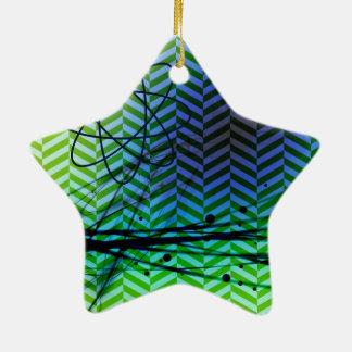 Funky Blue Green Pattern Ceramic Star Ornament