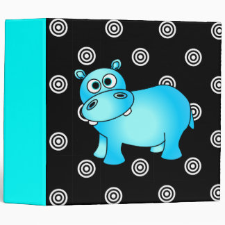 Funky Blue Hippo Photo / School Large Binder