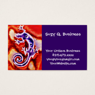 Funky Blue Purple Orange Lizard Gecko Southwestern Business Card