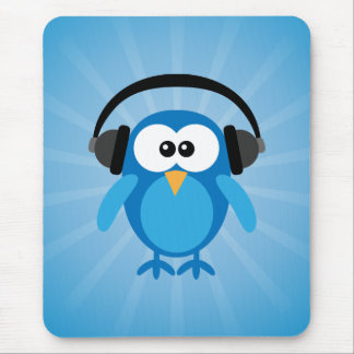Funky Blue Retro Owl With Headphones Mouse Pad
