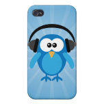 Funky Blue Retro Owl With Heads Cases For iPhone 4