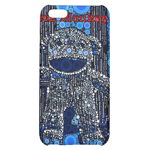 Funky Blue Sock Monkey Circles Bubbles Pop Art Cover For iPhone 5C