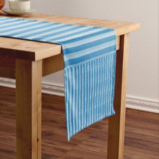 Funky Blue Stripes Short Table Runner