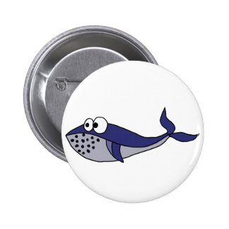 Funky Blue Whale Cartoon Design 2 Inch Round Button