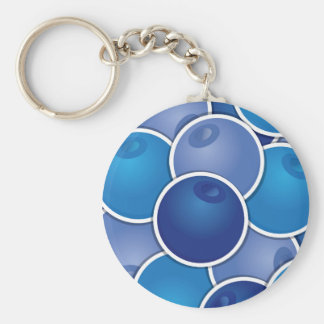 Funky blueberry basic round button keychain