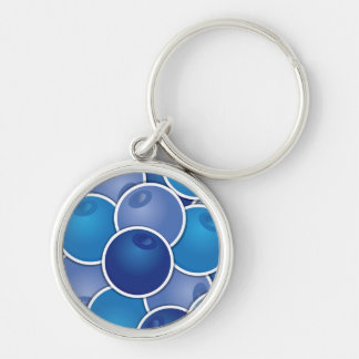 Funky blueberry Silver-Colored round keychain