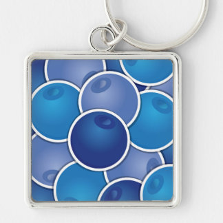 Funky blueberry Silver-Colored square keychain
