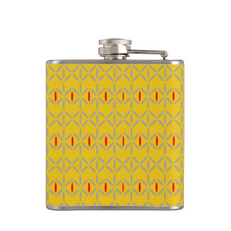 funky bold on mustard hip flask