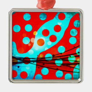 Funky Bold Red Blue Abstract Polka Dots Design Silver-Colored Square Ornament