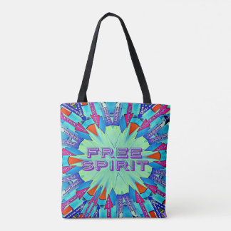"""Funky Bright Arrows Point To """"FREE SPIRIT"""" Tote Bag"""