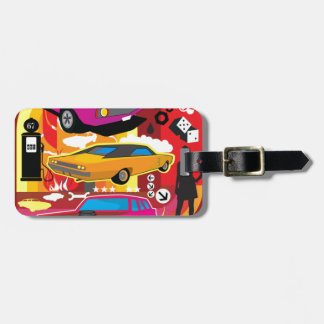 Funky Bright Colorful Cars Luggage Tag