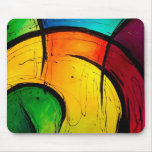 Funky Bright Colours Abstract Art Mouse Pad