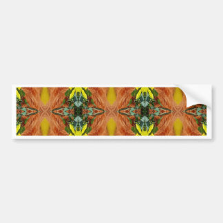 Funky Bright Fall Oranges Yellow Tribal Pattern Bumper Sticker
