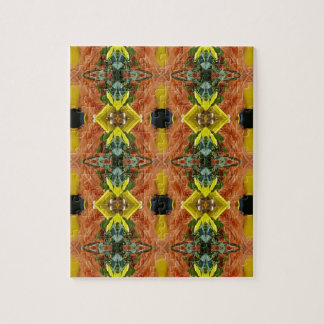 Funky Bright Fall Oranges Yellow Tribal Pattern Puzzles