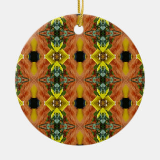 Funky Bright Fall Oranges Yellow Tribal Pattern Round Ceramic Ornament