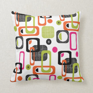 Funky Bright Fresh Colorful Geometric Fabric Print Throw Pillow
