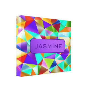 Funky Bright Geometric … Personalize Canvas Print