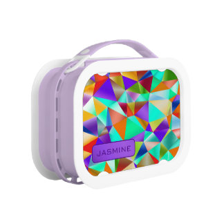 Funky Bright Geometric … Personalize Lunch Box