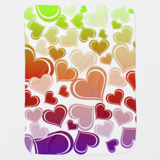 Funky Bright Hearts Pattern Baby Blanket