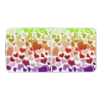 Funky Bright Hearts Pattern Beer Pong Table