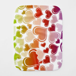 Funky Bright Hearts Pattern Burp Cloth