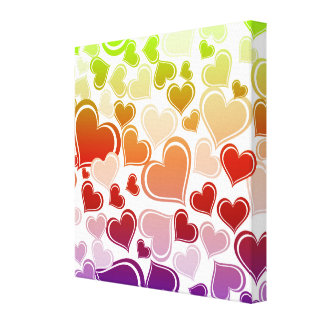 Funky Bright Hearts Pattern Canvas Print