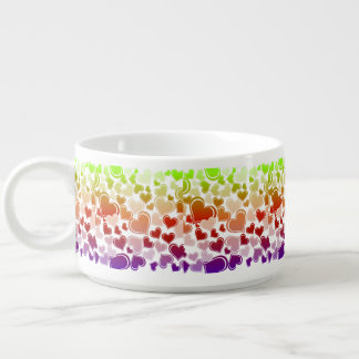 Funky Bright Hearts Pattern Chili Bowl