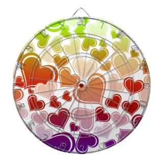 Funky Bright Hearts Pattern Dartboard