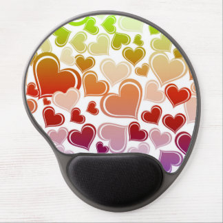 Funky Bright Hearts Pattern Gel Mouse Pad