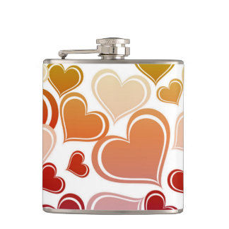 Funky Bright Hearts Pattern Hip Flask
