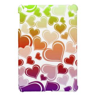 Funky Bright Hearts Pattern iPad Mini Cases