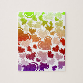 Funky Bright Hearts Pattern Jigsaw Puzzle