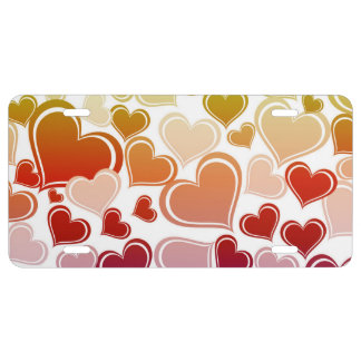 Funky Bright Hearts Pattern License Plate
