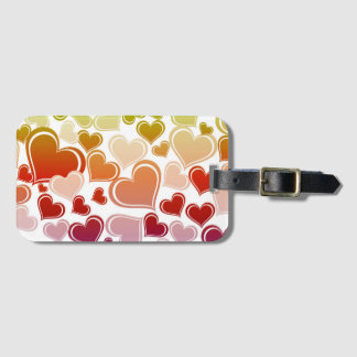 Funky Bright Hearts Pattern Luggage Tag