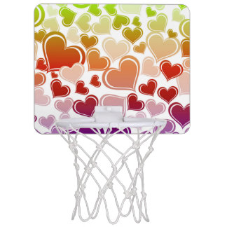 Funky Bright Hearts Pattern Mini Basketball Hoop