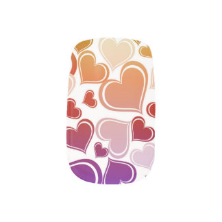 Funky Bright Hearts Pattern Minx Nail Art