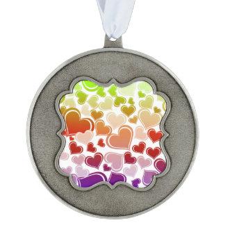 Funky Bright Hearts Pattern Ornament