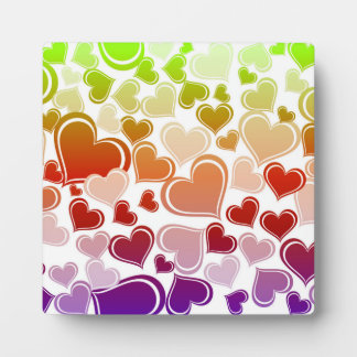 Funky Bright Hearts Pattern Plaque