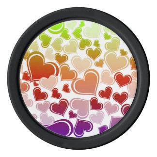 Funky Bright Hearts Pattern Poker Chips