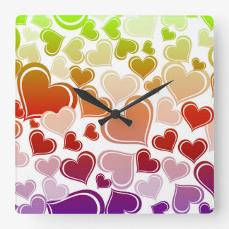 Funky Bright Hearts Pattern Square Wall Clock